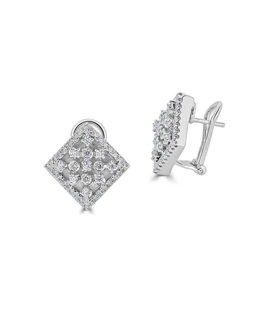 Saks Fifth Avenue - Diamond And 14k White Gold Square Fashion Earrings - Lyst