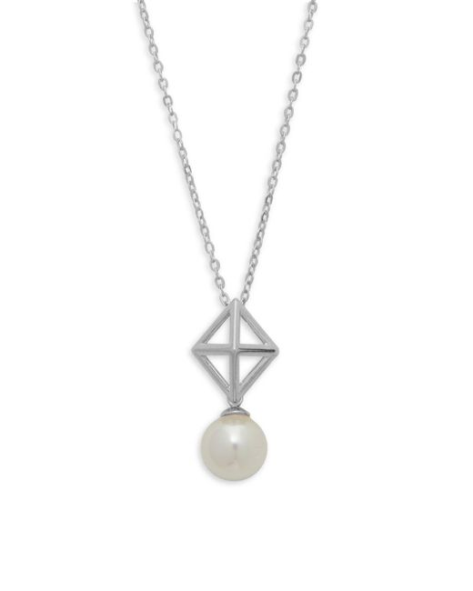 Majorica | 8mm White Organic Pearl And Sterling Silver Pendant Necklace | Lyst