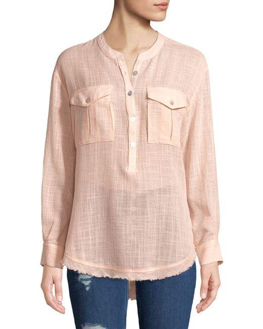 Free People - Pink Long-sleeve Frayed-hem Shirt - Lyst
