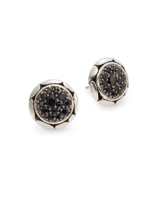John Hardy - Metallic Kali Black Sapphire & Sterling Silver Button Earrings - Lyst