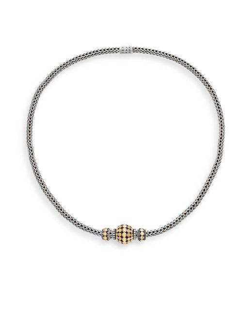 John Hardy | Metallic Dot Sterling Silver & 18k Yellow Gold Necklace | Lyst