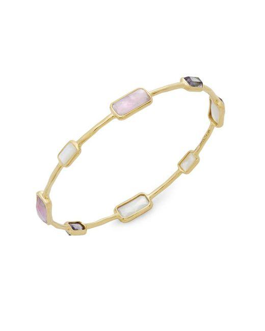Ippolita - Purple Rock Candy Amethyst, Mother-of-pearl, Clear Quartz & 18k Gold Bangle Bracelet - Lyst