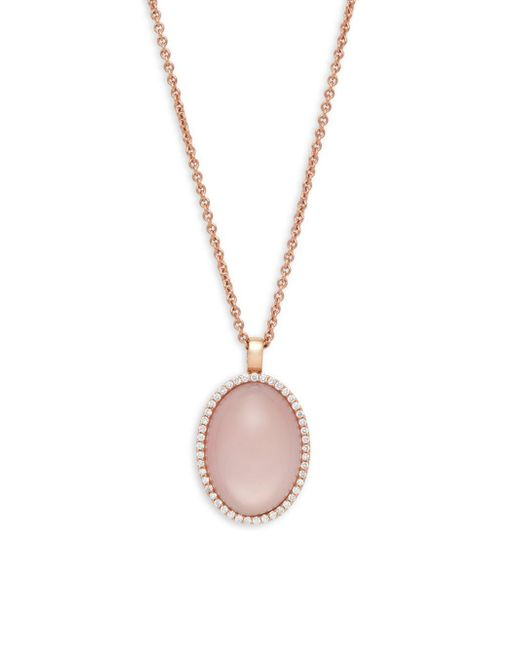 Roberto Coin - ??iamond, Pink Ruby And 18k Gold Pendant Necklace, 0.39 Tcw - Lyst