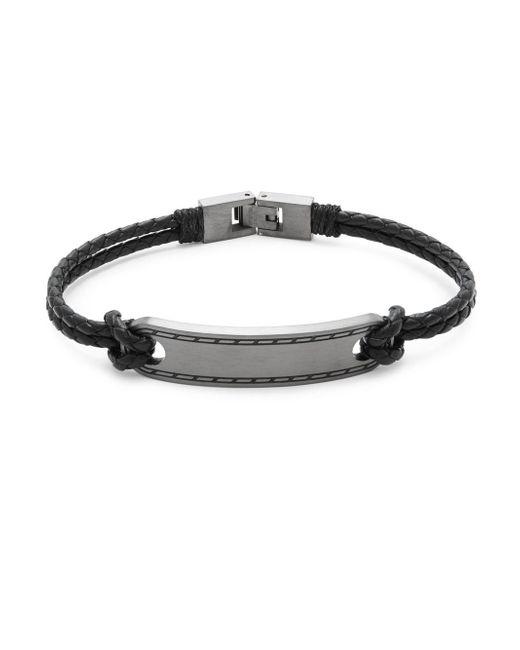 Saks Fifth Avenue - Black Leather & Stainless Steel Bracelet for Men - Lyst