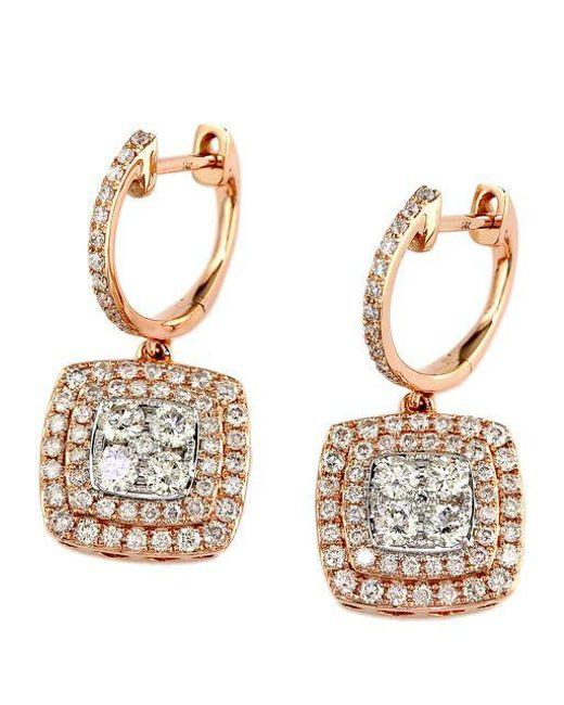 Effy - Metallic Diamond & 14k Rose & White Gold Drop Earrings, 1.29 Tcw - Lyst