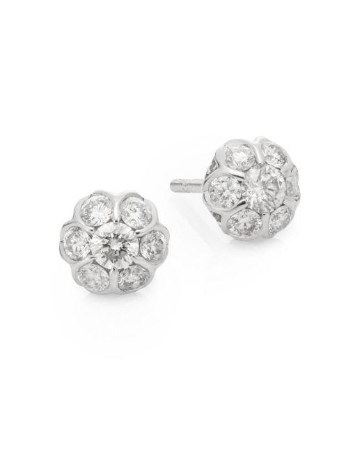 Saks Fifth Avenue   Metallic 0.49 Tcw Diamond & 14k White Gold Stud Earrings   Lyst