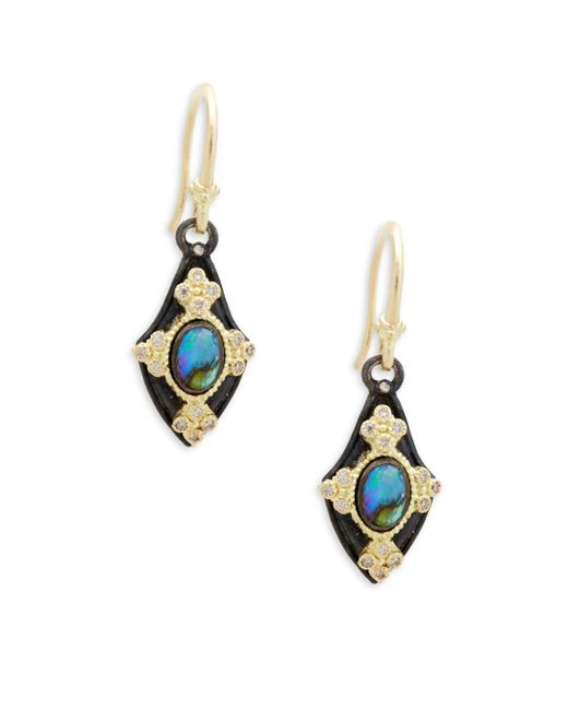 Armenta - Metallic Champagne Diamond & Gemstone Kite Earrings - Lyst