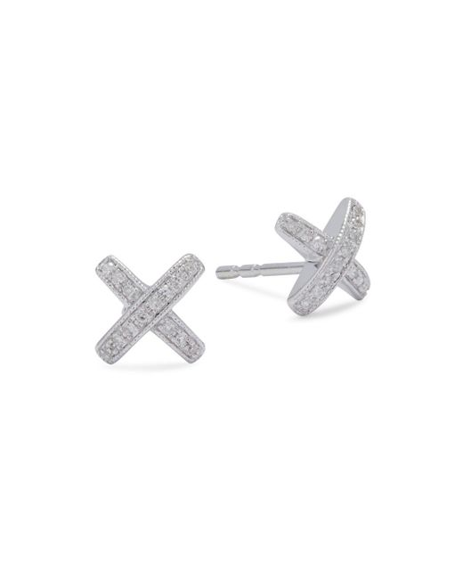 KC Designs - Metallic Diamond & 14k White Gold X-shaped Stud Earrings - Lyst