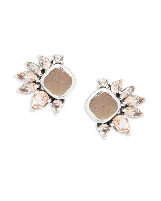 Stephen Dweck   White Mother-of-pearl, Smokey Quartz, Pink Quartz & Sterling Silver Stud Earrings   Lyst