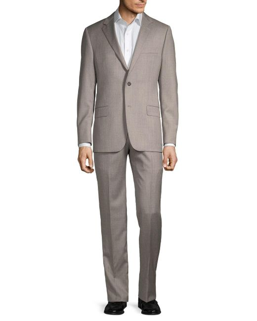 Hickey Freeman Gray Classic Fit Milburn Iim Series Wool Suit for men