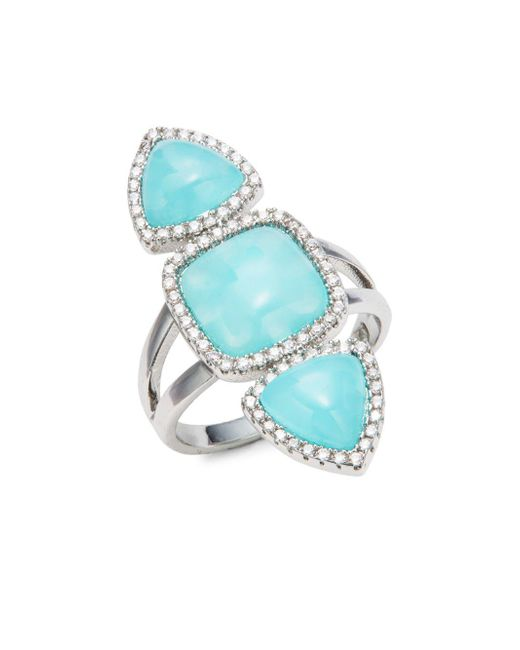 BaubleBar   Blue Trinity Turquoise Silvertone Ring   Lyst