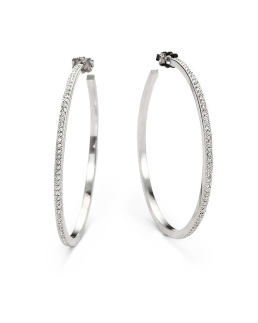 "Adriana Orsini - Metallic Pavà Hoop Earrings/2"" - Lyst"