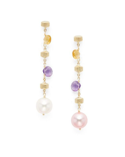 Marco Bicego - Metallic Paradise Amethyst, Citrine, Pearl & 18k Tier Drop Earrings - Lyst