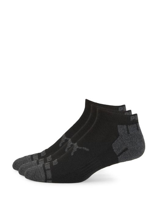 PUMA - Black Three-pack Logo Terry Low-cut Socks for Men - Lyst