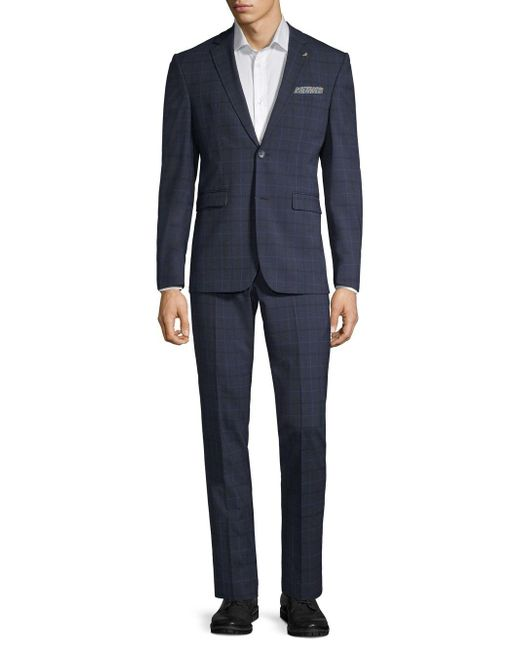 Original Penguin Blue Classic-fit Tonal Check Suit for men