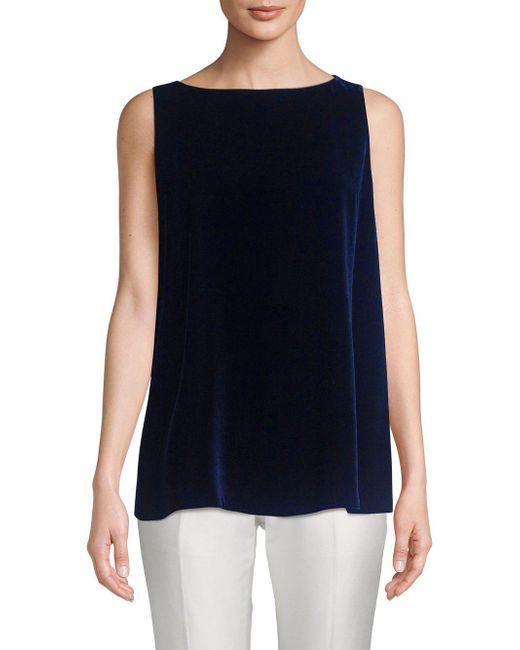 Lafayette 148 New York - Blue Toni Velvet Sleeveless Blouse - Lyst