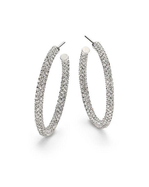 "Adriana Orsini - Metallic Pavà Crystal Hoop Earrings/1.25"" - Lyst"