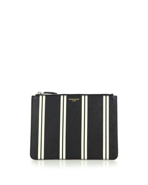 Givenchy - Black Striped Leather Pouch - Lyst