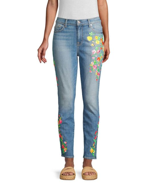 7 For All Mankind Blue High-rise Embroidered Floral Skinny Ankle Jeans
