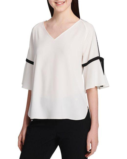 Calvin Klein - White Contrast Trim Short-sleeve Top - Lyst