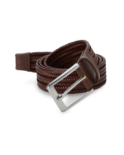 Saks Fifth Avenue - Brown Basket Weave Leather Belt - Lyst