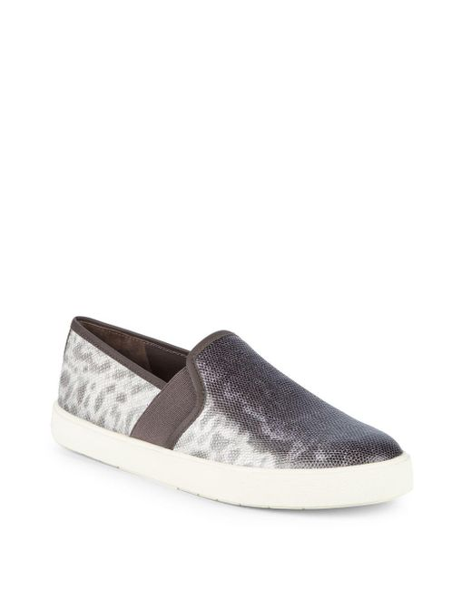 Vince - Metallic Preston-b Leather Slip-on Sneaker - Lyst