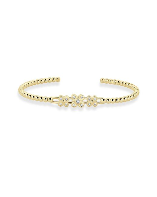 Saks Fifth Avenue - Metallic Petals Diamond And 18k Yellow Gold Clip Bangle Bracelet - Lyst