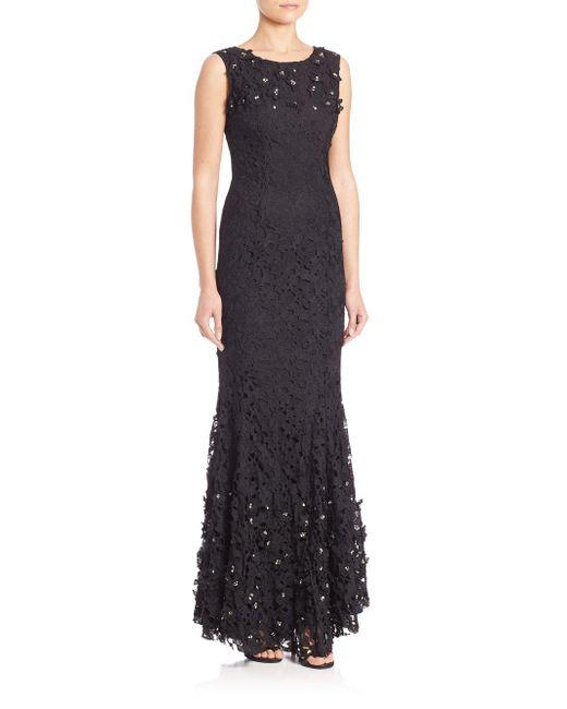 Zac Posen - Black Waldorf Lace Embellished Gown - Lyst