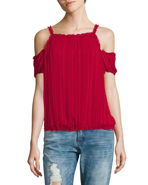 Max Studio - Red Elasticized Cold Shoulder Top - Lyst