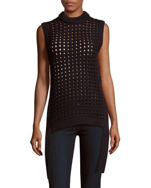 Tibi - Black Pointelle-knit Sleeveless Sweater - Lyst