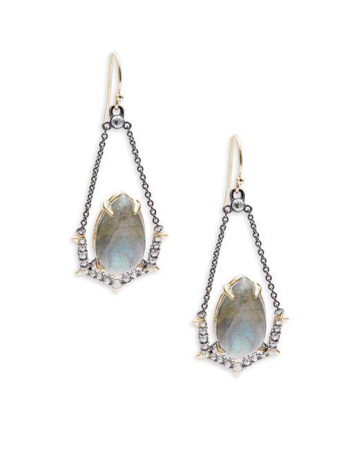 Alexis Bittar   Metallic Suspended Labradorite & Crystal Drop Earrings   Lyst