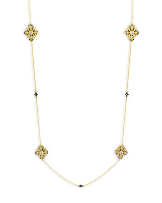 Freida Rothman - Metallic Crystal And Sterling Silver Twein Station Necklace - Lyst