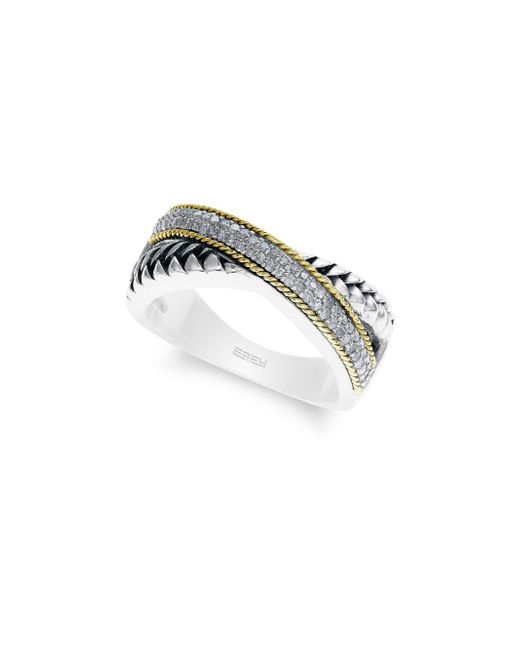 Effy - Metallic 18k Yellow Gold And Diamonds Band Ring - Lyst