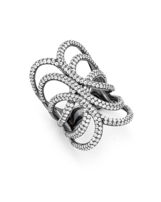 Noir Jewelry | Black Crystal Ring | Lyst