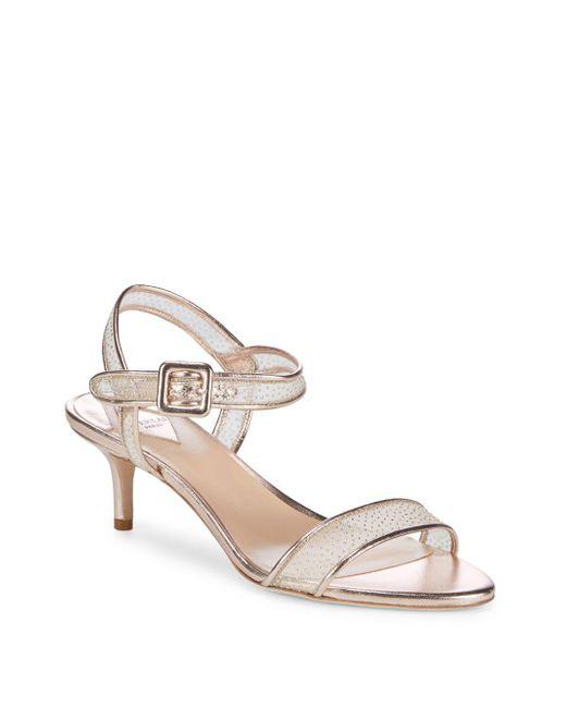 Aperlai - Natural Metallic Kitten Heel Sandals - Lyst