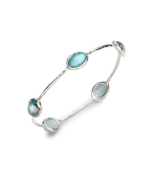 Ippolita - Metallic Wonderland Denim Mother-of-pearl, Clear Quartz & Sterling Silver Station Five-stone Doublet Bangle Bracelet - Lyst