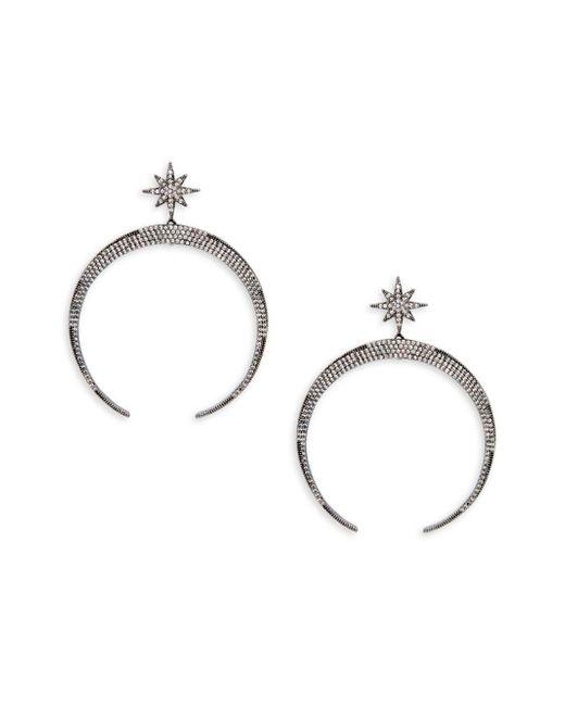 Serefina | Black Pave Lunar Drop Earrings | Lyst