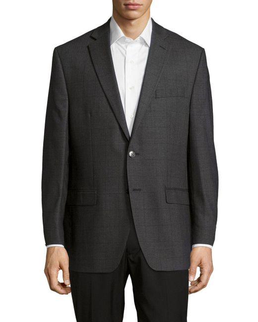 CALVIN KLEIN 205W39NYC - Gray Textured Notched-lapel Woolen Jacket for Men - Lyst