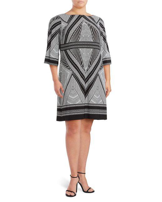 Calvin Klein   Black Printed Boatneck Dress   Lyst