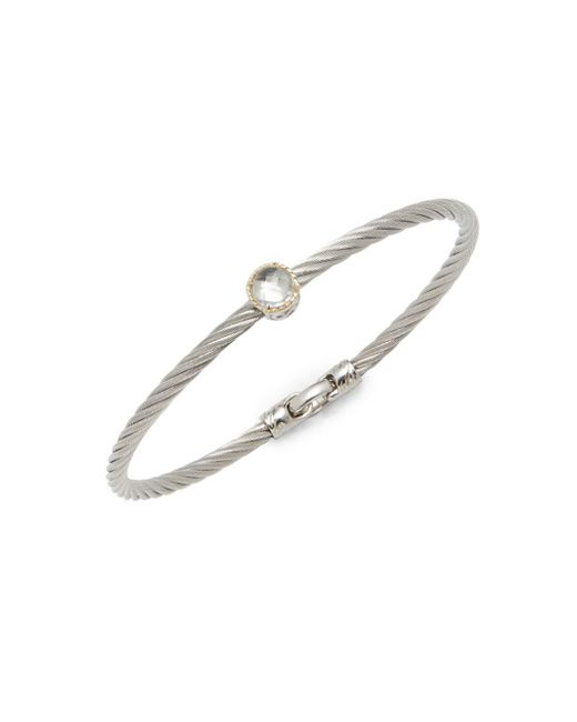 Alor - Gray Stainless Steel Single White Topaz Bracelet - Lyst