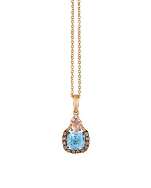 Le Vian - Metallic 14k Strawberry Gold & Sea Blue Aquamarine Necklace - Lyst