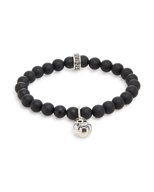 King Baby Studio - Metallic Onyx & Silver Beaded Skull & Crossbones Charm Bracelet for Men - Lyst