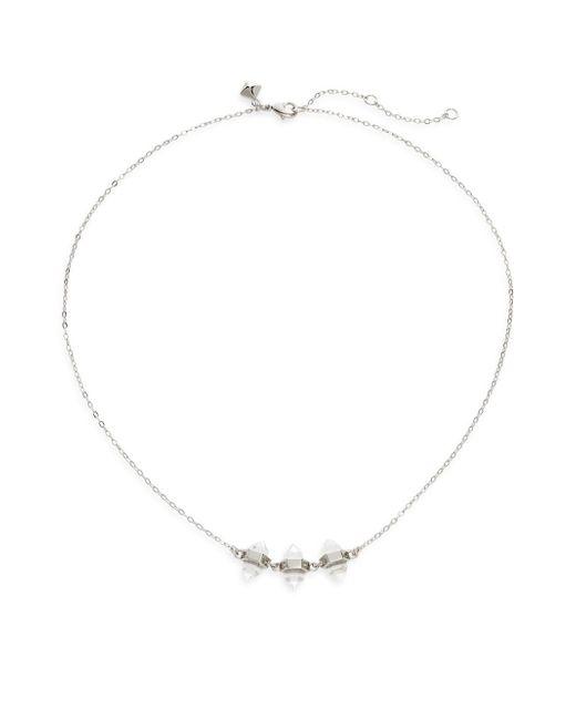 Rebecca Minkoff - Metallic Three-crystal Necklace/silvertone - Lyst