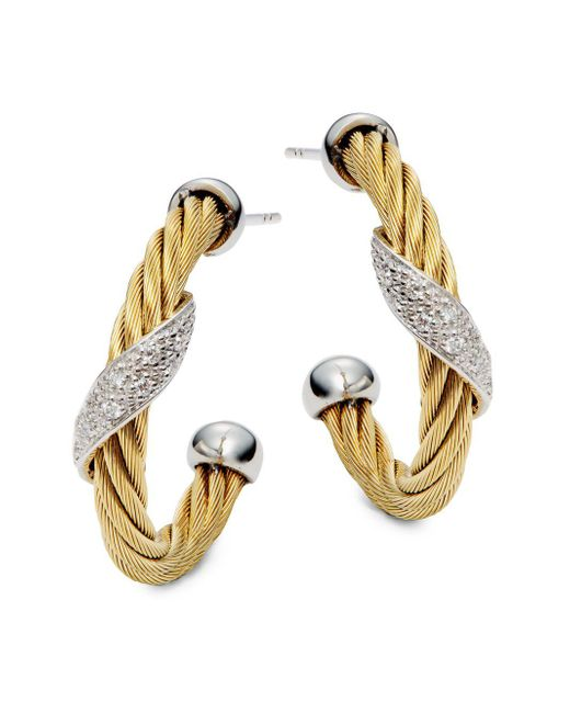 Alor - Metallic Cable Pave Diamond Hoop Earrings - Lyst