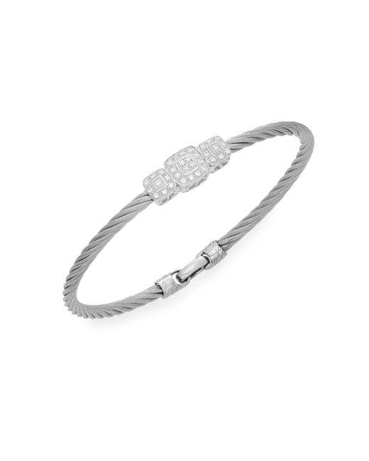 Alor - Diamond, 18k White Gold & Steel Coil Bracelet - Lyst