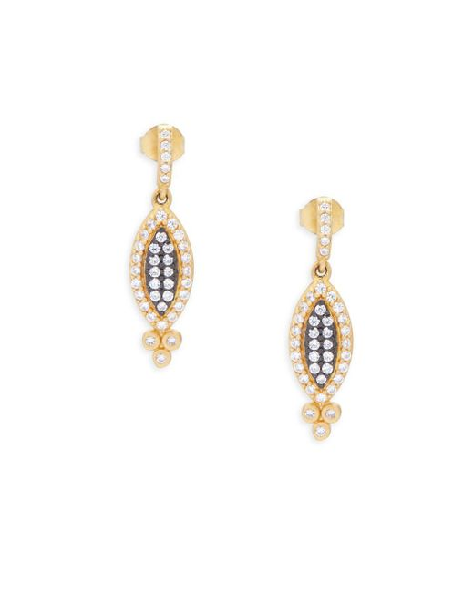 Freida Rothman - Metallic Crystal And Goldplated Harlequin Drop Earrings - Lyst