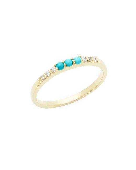 Danni - Metallic Diamond, Turquoise And 14k Yellow Gold Ring, 0.15 Tcw - Lyst