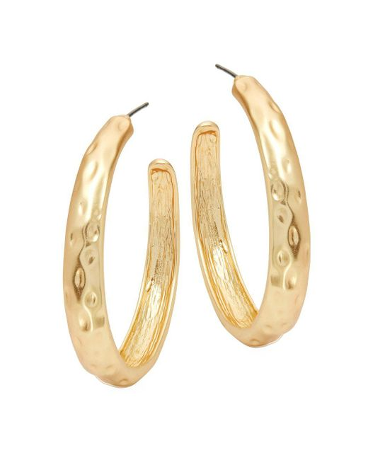 Kenneth Jay Lane - Metallic Textured Hoop Earrings - Lyst
