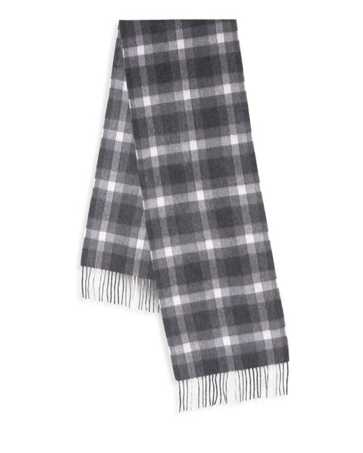 Saks Fifth Avenue - Gray Boxed Plaid Cashmere Scarf for Men - Lyst