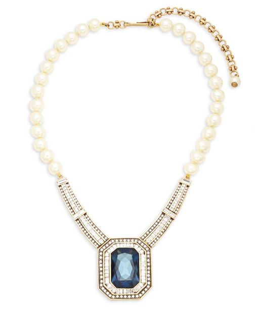 Heidi Daus - White Faux Pearls And Crystals Statement Necklace - Lyst